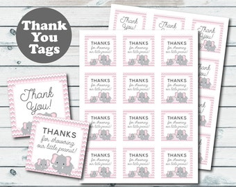 Pink Elephant Baby Shower Favor Tags, Elephant Printable Thank You Tags, Baby Shower Thank You Tags, Pink And Grey Elephant Party Favors