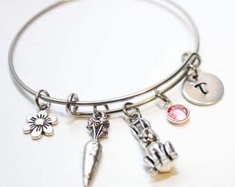 bunny rabbit bracelet, personalized bunny bracelet, bunny rabbit jewelry, bunny rabbit bangle, bunny theme gift, bunny initial bracelet
