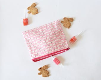 Pink rabbit zipper pouch , multi-purpose pouch , zip pouch, pink pouch , pink rabbit , bunnies , summer gift , pink pouch, for her, pink