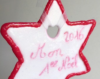 hanging/ornament/star/personalized/fimo/made hand/customizable/Pink/White/glitter/idea gift/decor/nursery baby baptism/christening