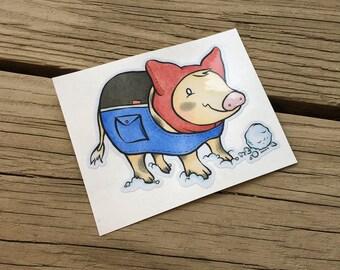 """Cute Little Pig """"Bundled Up"""" Piggy Vinyl Die Cut Art Decal Indoor/Outdoor Sukoshi Buta Mini Pig Pigxel Art"""