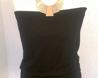 Black jersey rib tube top