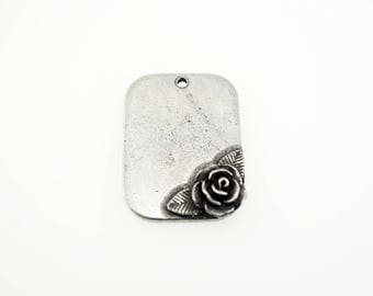 Pewter Stamping Blank - Roses - Pewter Rose - Rose Charm - Stamping blank with Rose -  5 pieces