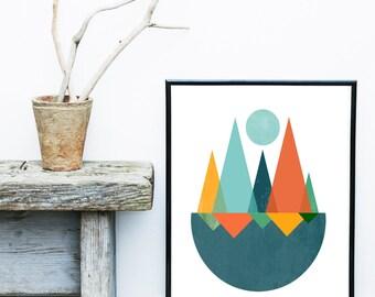 Mid Century Modern, Art Print,  Abstract Art Print, Giclee print, Wall Art, Abstract  Poster, Wall Decor, Home Decor