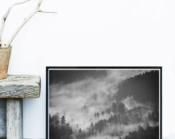 Forest Print, Mountain Art, Scandinavian Print, Tree Art, Black And White Wall Art, Art Print, Giclee print,  Poster