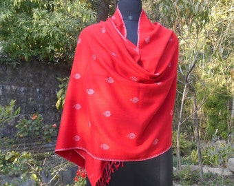 Ultra Soft KASHMIR SILK PASHMINA Stole. Handmade with 90% Natural Cashmere Blended with Silk & Hand Embroidered with natural Kashmir Silk.