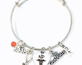 NP Graduation Bracelet, 2018 2019 Nurse practitioner Gift for Student Grad Silver Bangle, custom initial birthstone letter Jewelry Graduate