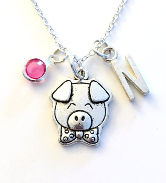 Pig Charm Bracelet: Pig Necklace Piglet Gift Piggy Jewelry Animal Silver Charm