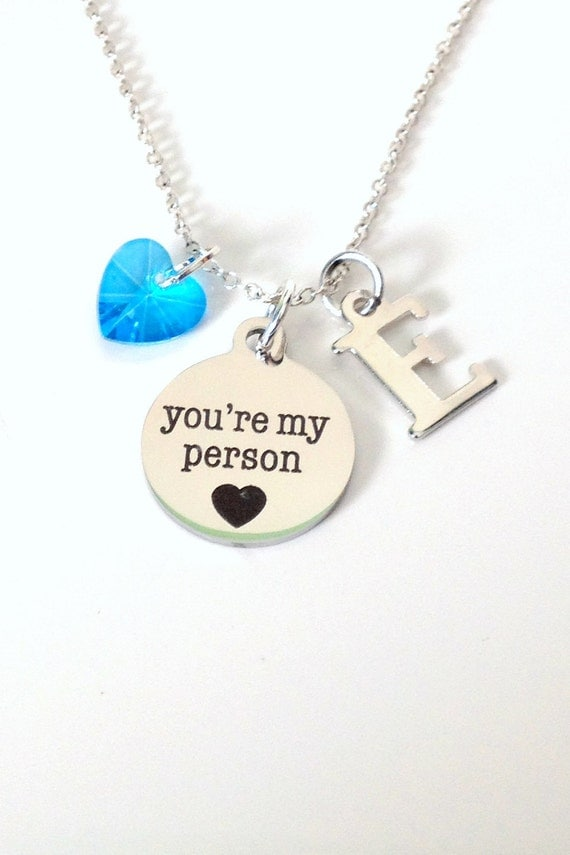 youre my person necklace bff necklace initial shape