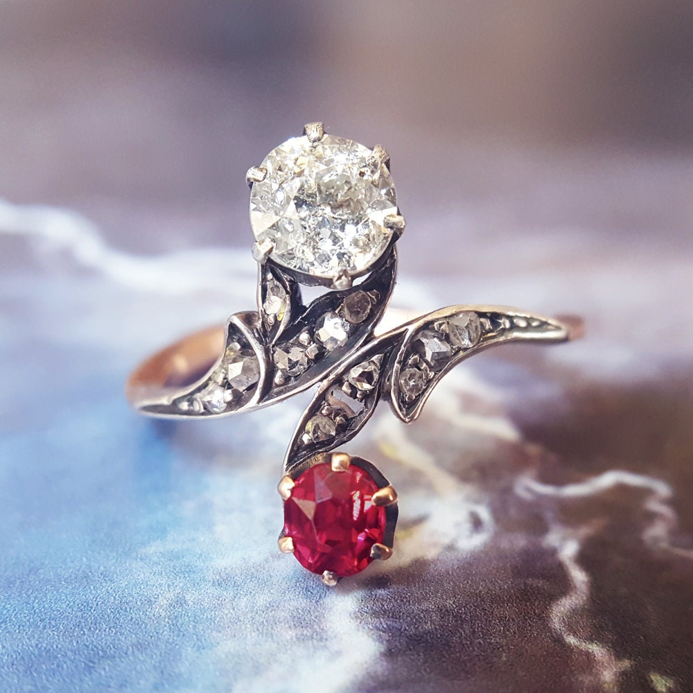 Antique Engagement Ring Ruby Engagement Ring Victorian