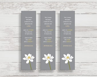 Printable Bookmarks - Jeremiah 29:11 - For I Know the Plans I Have For You - Scripture Bookmarks - Bible Verse Bookmarks - Lotus Flower