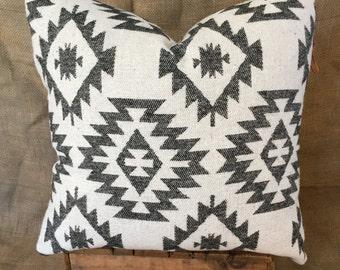 Aztec Print Pillows, Southwestern Pillow Cover, Navajo, Native American Print, Boho Pillows, Black and White Throw Pillows, Tribal Décor