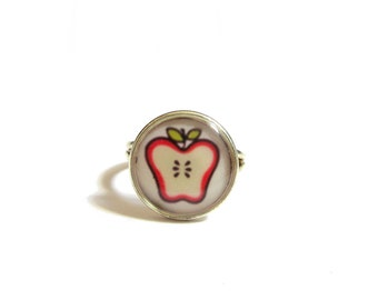 KIDS APPLE RING -  Kawaii Jewelry - Kid's Jewelry - Junk Food Jewelry -Vegan ring -  Healthy food ring - Cute ring -First day of school gift
