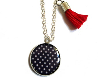 POLKA DOT NECKLACE - Blue and white - Children necklace - Girl Necklace - Christmas gift