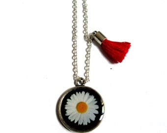GIRLS NECKLACE - Girls Jewelry - Kids Necklace - DAISY Necklace - Children Necklace - Birthday Necklace - Black and White