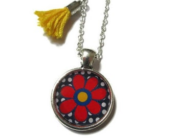 RED FLOWER NECKLACE - Flower Necklaces for Girls - Tiny Flower Necklace - Flower Girl Gift - Girls Necklace