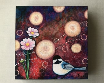 Wall Art, Print on Wood Panel, Batik/Acrylic, Plum and Chickadee