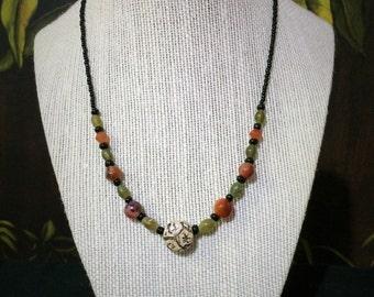 17'' Carnelian Bead Necklace.