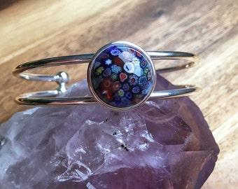 Blue Millefiori Bracelet Blue Cabochon Bracelet Womens Bracelet Gift For Her Womens Jewellery Womens Accessories Handmade Bracelet