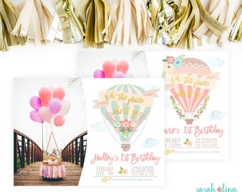 The Places She'll Go Hot Air Balloon Birthday Photo Invitation, First Birthday Hot Air Balloon Party, Pink Gold Balloon Invitation Printable