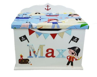 Personalised, custom, bespoke wooden toy box any name and theme *Standard size