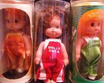 Vintage 1970's Playmates SODA POP Dolls!! Molly Orange, Dolly Cola & Lily Lime!! Nice HTF Dolls!!