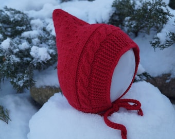 Toddler Pixie Hat. Baby hat. Elf hat. Red hat. Pixie Bonnet. Toddler Hat. Merino & Cashmere Wool hat. Handmade knitted hat.