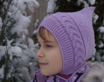 Baby Pixie hat. Toddler hat. Handmade knitted hat. Lilac pixie hat. Warm knitted hat. Elf hat. Childrens pixie bonnet. Merino hat.