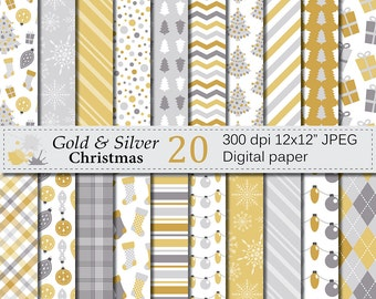 Gold and Silver Christmas Digital Paper Set, Christmas Digital papers, Christmas Lights, Trees, Stockings, Presents, Ornaments, Download