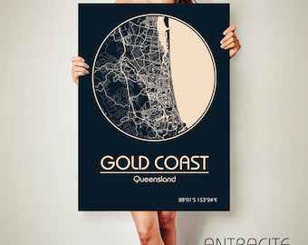 GOLD COAST Australia CANVAS Map Gold Coast Australia Poster City Map Gold Coast Australia Art Print Gold Coast Australia