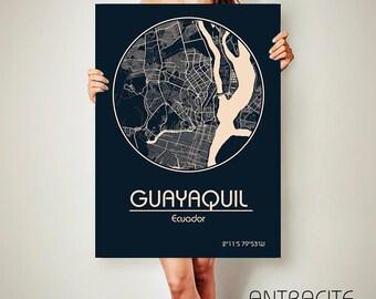 GUAYAQUIL Ecuador CANVAS Map Guayaquil Poster City Map Guayaquil Ecuador Art Print Guayaquil poster Guayaquil map art Poster Guayaquil map