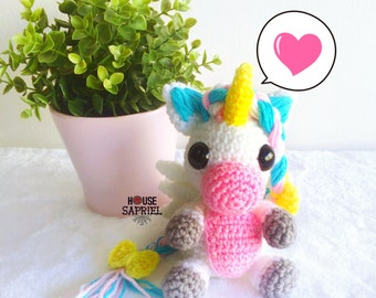 FREE SHIPPING!!Cute unicorn amigurumi ,Unicorn sweets ,cute unicorn kawaii ,unicorn doll