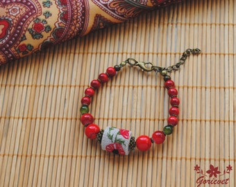 Poppy flower bracelet embroidered jewelry gift for women red bracelet flower jewelry coral bracelet nature jewelry girlfriend gift mom gift