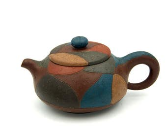 Yixing Clay Teapot, Purple Clay, Unused Signed Yixing Teapot, Artistic Colorful Sculpture, Small Chinese Clay Teapot, Tea Lover Gift Idea