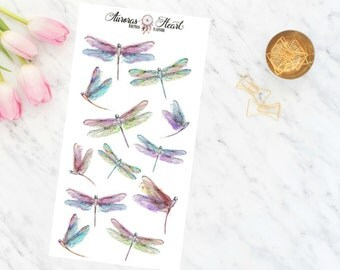 Dragonflies watercolor planner stickers boho