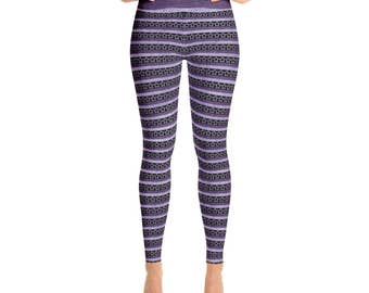 Purple Star Leggings - Purple and Black Striped Yoga Pants, Purple Stars Printed Tights