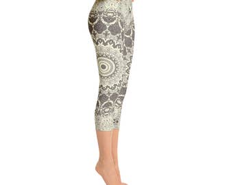 Printed Workout Capris - Mandala Yoga Pants in Cream and Brown, Womens Print Leggings, Stretchy Yoga Pants, Fashion Leggings