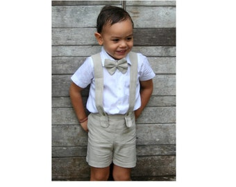 3pcs. Christening Outfit-Beige,Boy Suspender Shorts,Linen Shorts,Page Boy,RingBearer,Baptism boy,Shorts with Braces,Boy Wedding Outfit