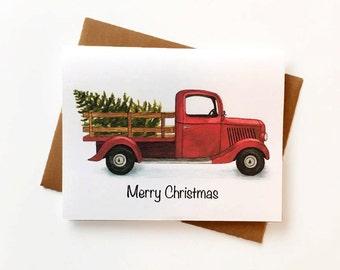 Christmas Tree Christmas Card Set - Illustrated Christmas Cards - Set of 10 - Farmhouse Style Christmas Cards - Vintage Christmas Cards