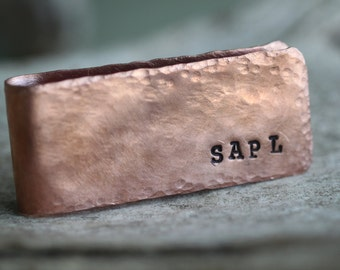 Rustic Personalized Copper, Sterling Silver, Brass Money Clip - Groomsmen Gift - Personalized Money Clip - Engraved Money Clip