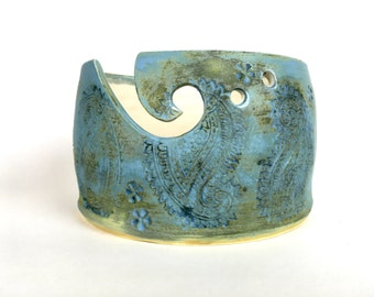 Blue ceramic yarn bowl knitting bowl