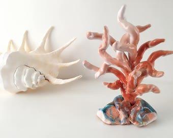 Peach rose coral ceramic sculpture