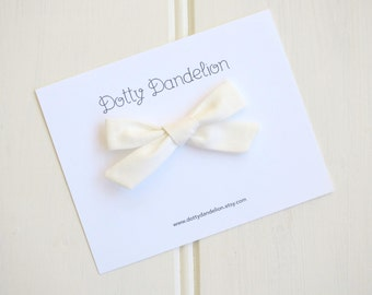 Ivory Hair Bow  Girls Ivory Bow Girls Ivory Hair Clip Hand Tied Bow Schoolgirl Bows Ivory Hair Bow Ivory Hair Clip, Ivory Bow