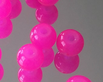 Hot Pink Fuschia Beads - Round Glass Beads 5mm - Package of 12
