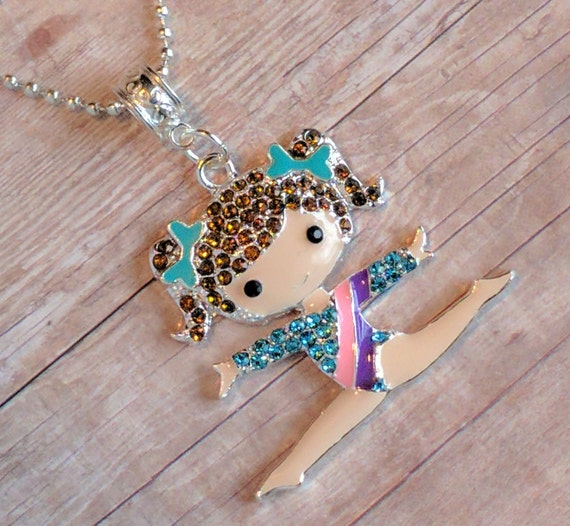 young girls gymnastics necklace young girls jewelry girls. Black Bedroom Furniture Sets. Home Design Ideas