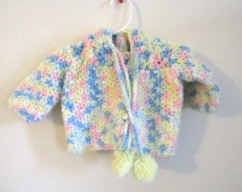 3-6 Mos - Easter Yellow, Pink and Blue Knitted Cable Granny Sweater Cardigan, Handmade Knit Sweater with Booties Shoes, Baby Shower Gift