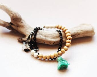 Wood and gemstones wrap bracelet, Ivory howlite, rose quartz, Boho green tassel and wood bracelet, festival jewelry, gift