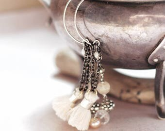 Gemstone tassel earrings, Wire wrapped Citrine, Crystal quartz, Hematite and pearl, Geometric earwires, ivory&black, boho wedding, gift