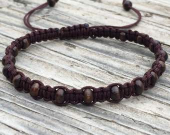 Brown Wooden Bead Anklet, Boho Bracelet, Cord Macrame Friendship Bracelet, Macrame Jewelry, Gift for Her, Beaded Anklet