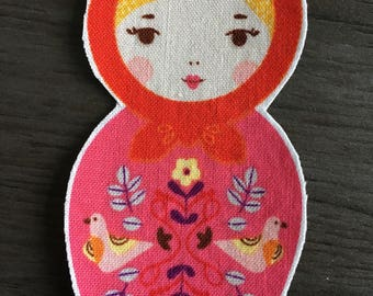 Pink and Red Matroska Fabric Appliqué